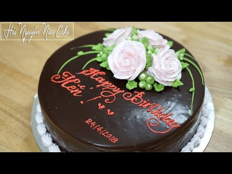 Bánh Sinh Nhật Phủ Socola Ganat - How to Cover Chocolate Ganache on Cake   Foci
