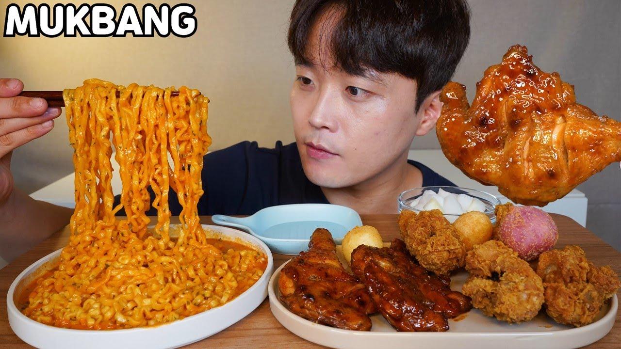 까르보불닭 BBQ 황금올리브 닭다리 자메이카 통다리 치즈볼 먹방 Korean Chicken & Spicy Noodles MUKBANG ASMR EATING SHOW