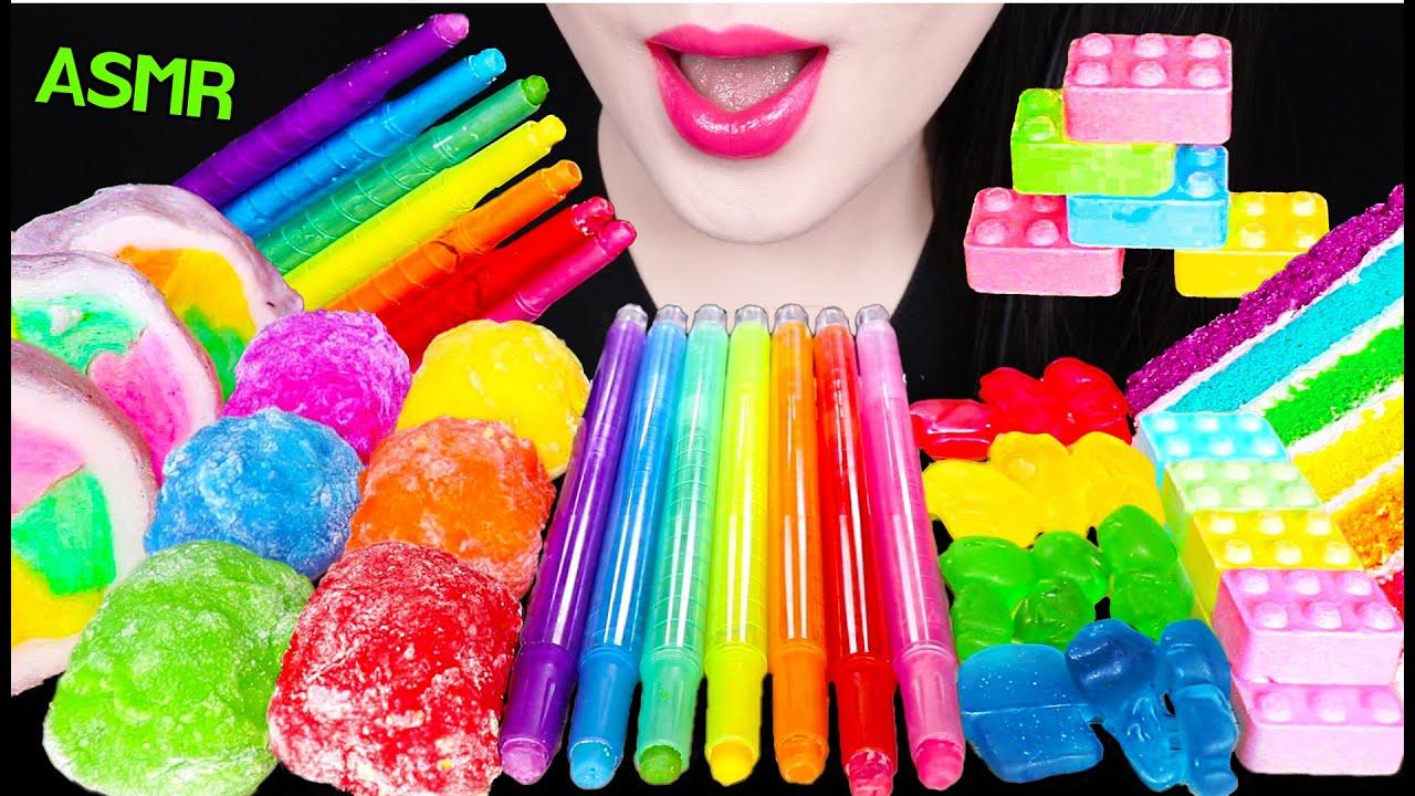 ASMR RAINBOW EDIBLE CRAYON, EDIBLE LEGO, COTTON CANDY, RICE CAKE 먹는 색연필, 먹는 레고 블록 먹방 EATING SOUNDS