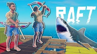BOW HUNTING SEAGULLS & SHARK?! - Raft Multiplayer Gameplay - Survival Raft Building Game
