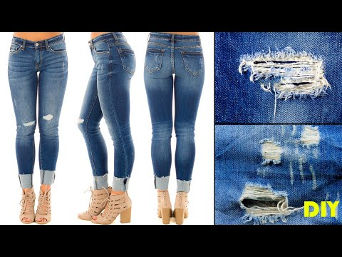Best & Easy Way To Distress Your Jeans / DIY - Ripped Denim