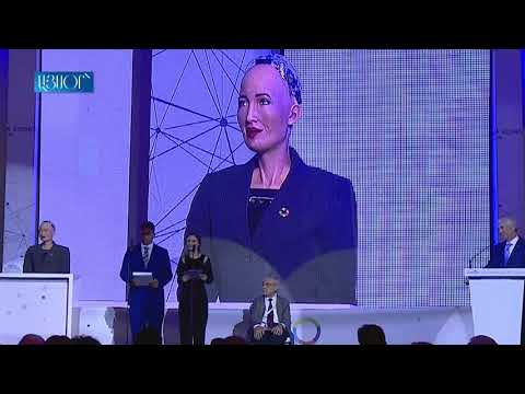 Robot Sophia Holds A Speech During The Economic Forum In Yerevan, Armenia