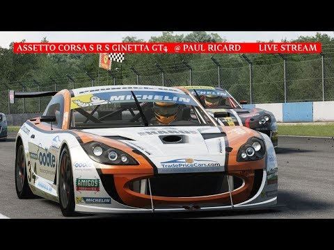 Gaming : Assetto Corsa Sim Racing System Ginetta Gt4 @ Paul Ricard (Live Stream)
