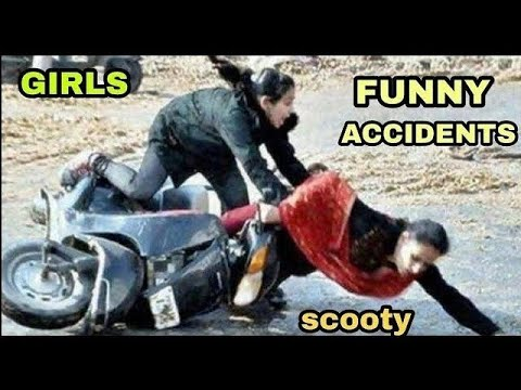 Girls funny accidents / scooty accident / India accident funny /  fail driving Indian girls
