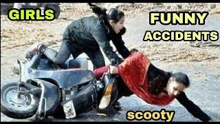 Girls funny accidents , stunts / scooty accident / India accident funny /  fail driving Indian girls