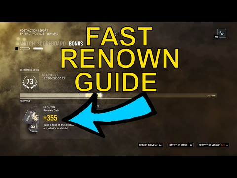 Rainbow Six Siege - Fast Renown Guide - 4000 Renown an Hour!