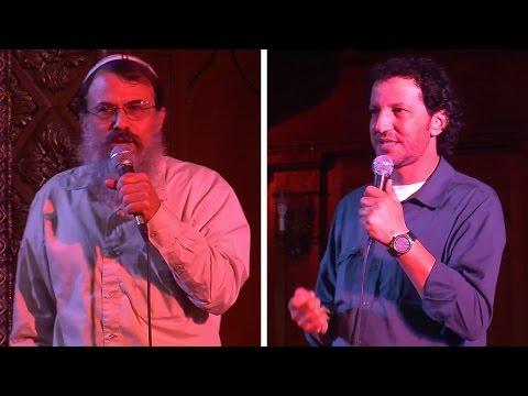 Palestinian Ali Abu Awwad and settler Rabbi Hanan Schlesinger tell their stories