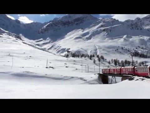 switzerland Alps bernina express train to a glacier tour. EXPECTACULAR SCENES !