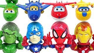 Head is heavy! Super Wings! Deliver head to Marvel Hulk, Spider-Man! Surprise egg bomb! - DuDuPopTOY