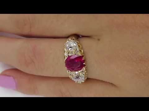 "GIA ""NO HEAT"" Antique 2.30ct BURMA Red Ruby and Old Mine Diamond Engagement Gold Ring"