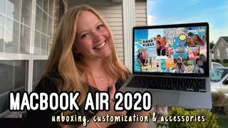 UNBOXING AND CUSTOMIZING MY MACBOOK AIR 2020 13' | with accessories