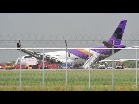 Thai Airways plane skids off runway in Bangkok
