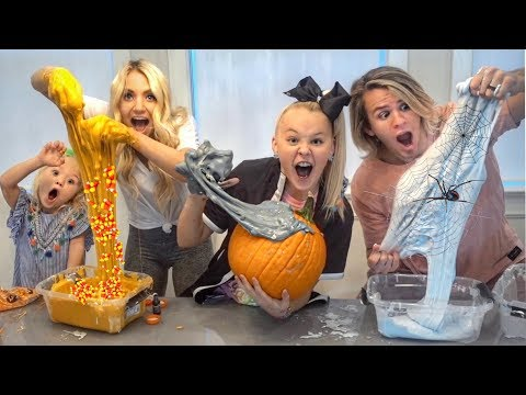 Thumbnail: ULTIMATE HALLOWEEN SLIME CONTEST W/ JOJO SIWA!!! Making real PUMPKIN, SPIDER WEB, & CANDY CORN slime