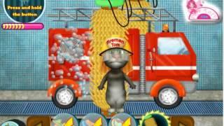 Кот Том  мойка пожарной машины мультик игра для детей