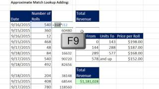 Excel Magic Trick 1348: Lookup Adding: Exact Match or Approximate Match (SUM Many VLOOKUPs)