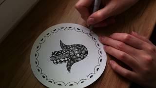 10 урок по рисованию. Хамса. (Зентангл. Дудлинг. Раскраски антистресс.)