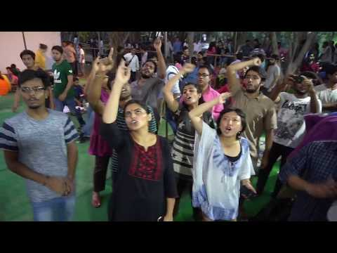 JNUSU Elections 2017-18 Vote Counting : Left Unit Supporters in front of SIS Old