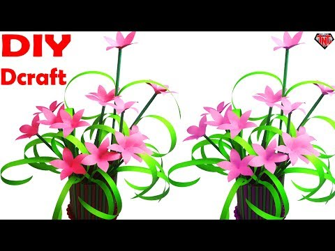 How To Make Paper Onion Grass Stick Flower || Make Grass Flower With Paper Easy