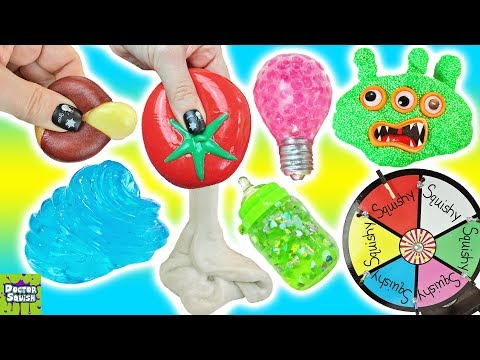 Wheel Of Squish! Cutting Open Tomato Squishy! Making Sand Slime!  Doctor Squish
