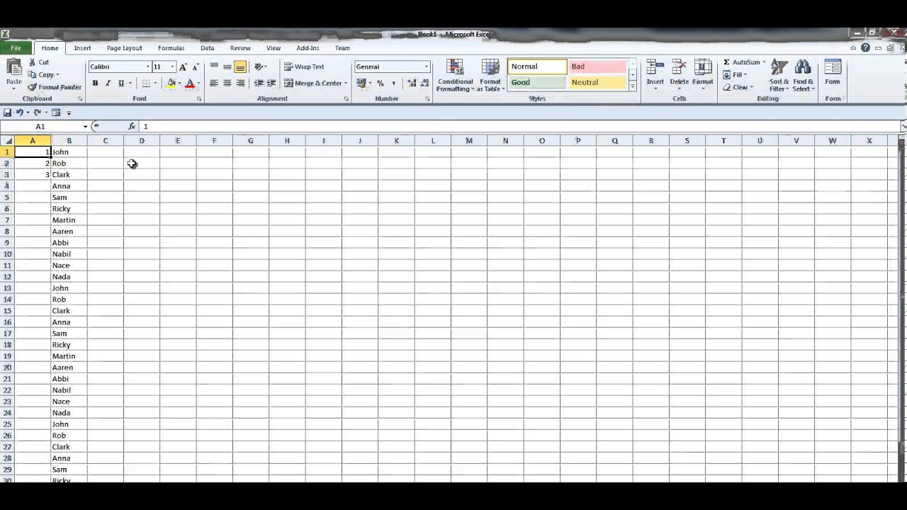 How to number rows in Excel