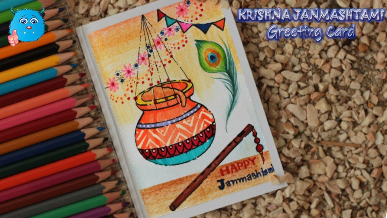 How to draw krishna janmashtami festival greeting card in color pencil step by step very easy