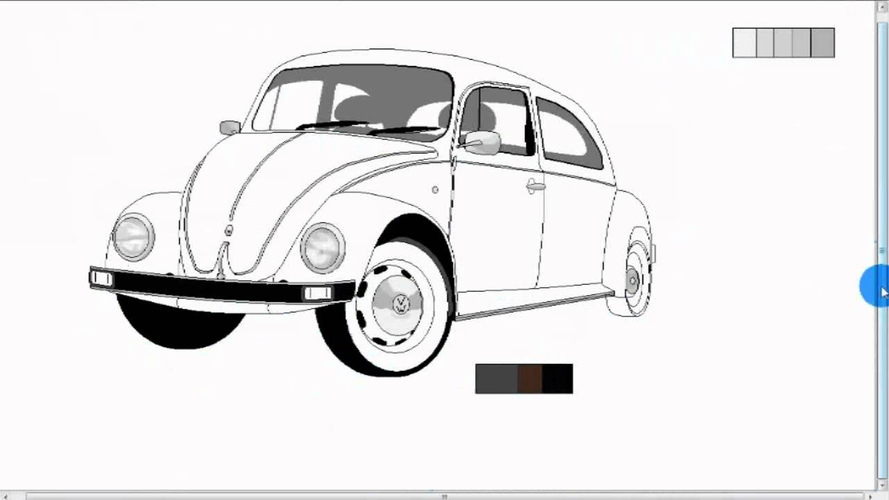 vw beetle how to draw a car in ms paint youtube