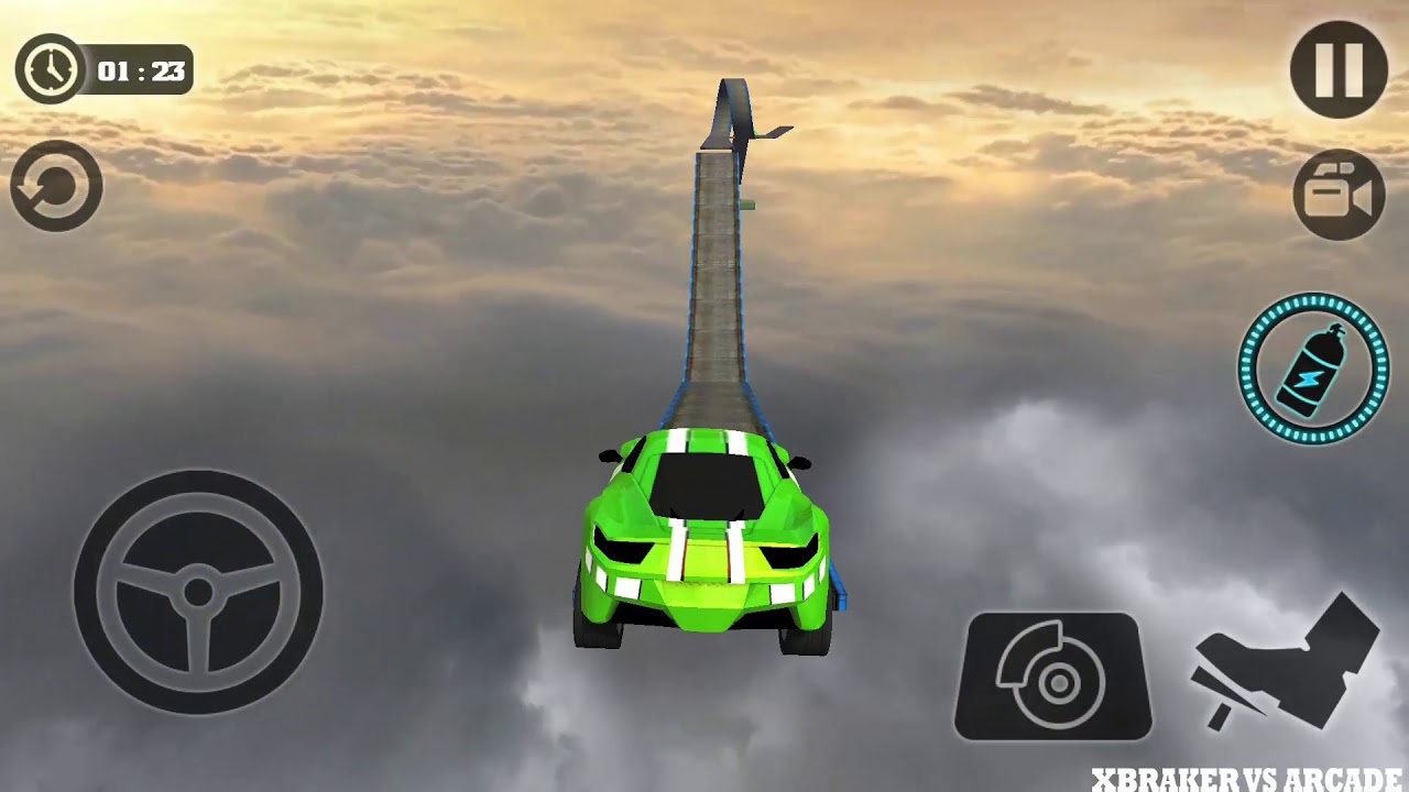 Impossible Stunt Car Tracks 3D Green Vehicle Driving levels 10 to 12 - Android GamePlay 2019