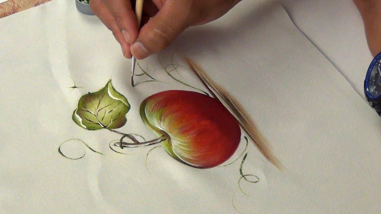 Pintando una manzana en tela  YouTube