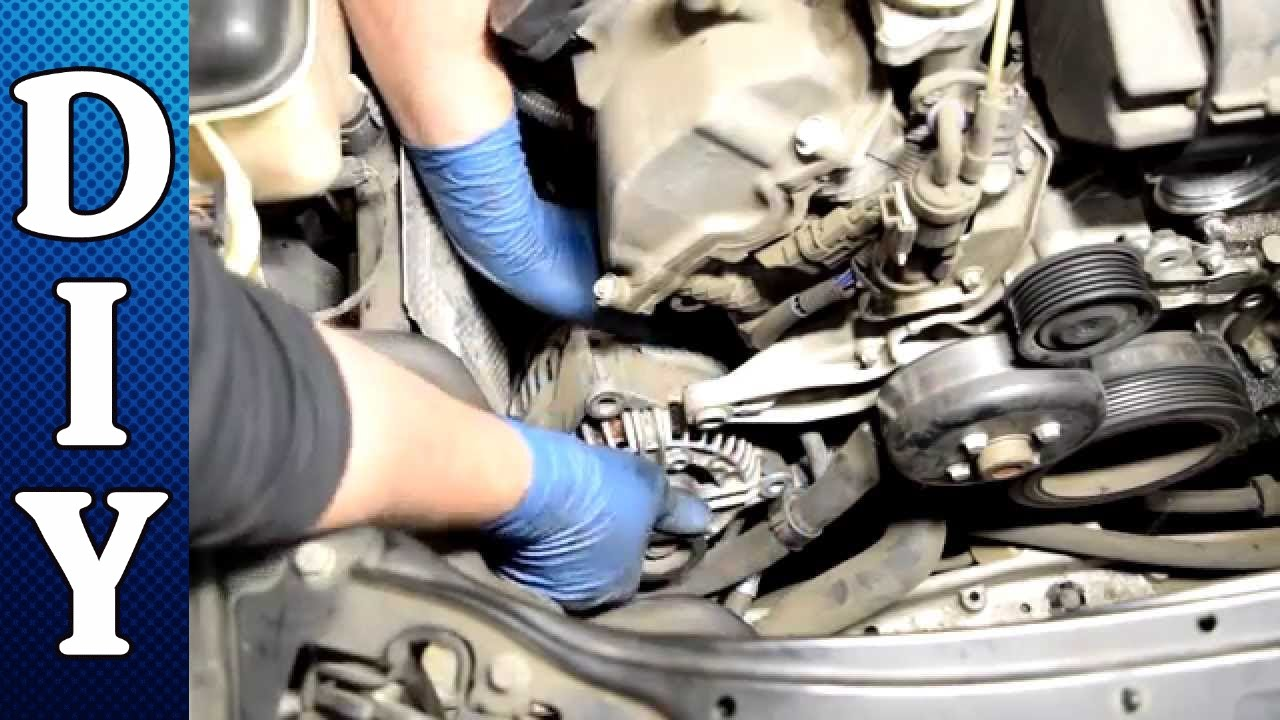 how to remove and replace an alternator mercedes c240 c320 e320 clk320 ml320 v6 youtube [ 1280 x 720 Pixel ]