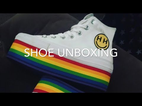 f1d45c30b3af Rainbow converse platform shoes unboxing!! - YouTube
