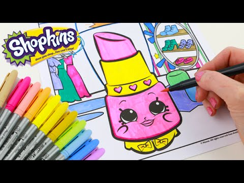 Shopkins Lippy Lips Speed Coloring Book With Markers Youtube