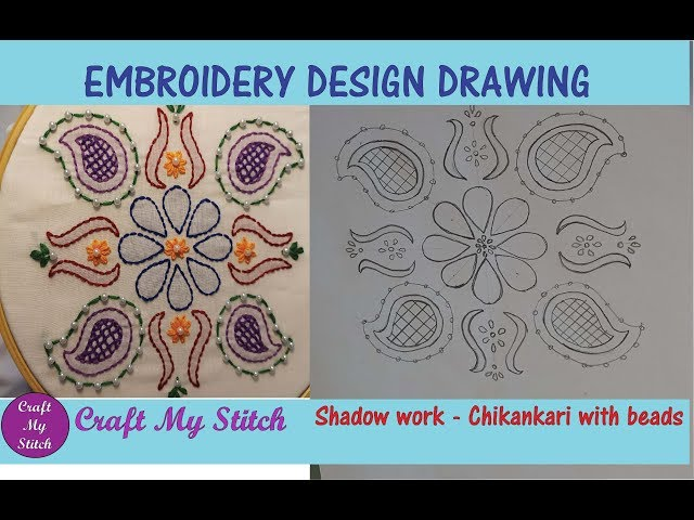 Hand Embroidery Design Drawing - Shadow work - Chikankari with beads