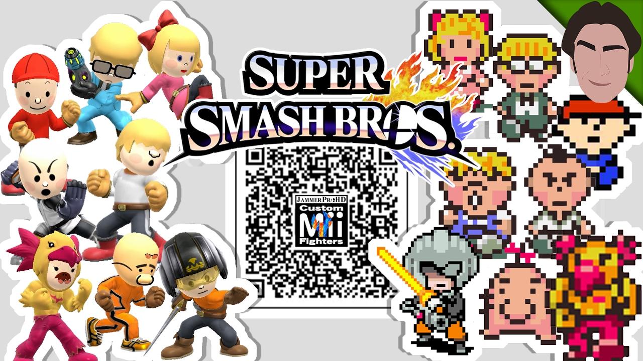 Jeff, Ninten, Masked Man & MORE! Earthbound Mii Fighter QR Codes for Smash  Bros