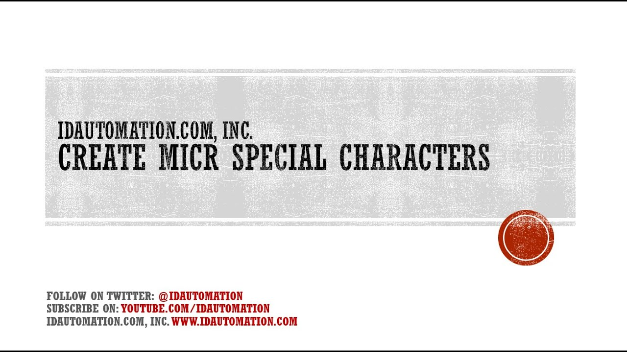 How To Create Micr Special Characters Using The Idautomation Micr