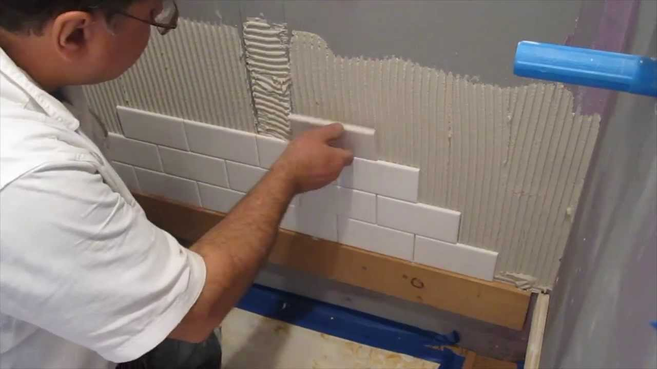 Subway tile shower install time lapse youtube How to put tile on wall in the kitchen