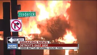 Crews battling several fires on Detroit