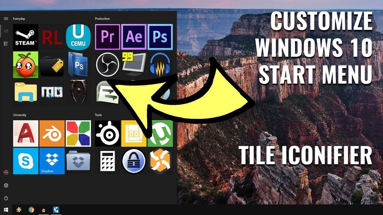 change icons windows 10 start menu