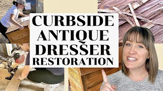 Curbside Antique Dresser With Tons of Water Damage Gets Restored