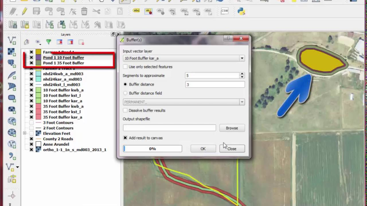 QGIS Lesson 6 (Part 3) - Procedure to Create Buffers around Water in QGIS