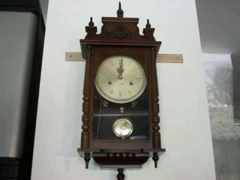 Ornate Linden 31 Day Chime Wall Clock Mahogany Youtube