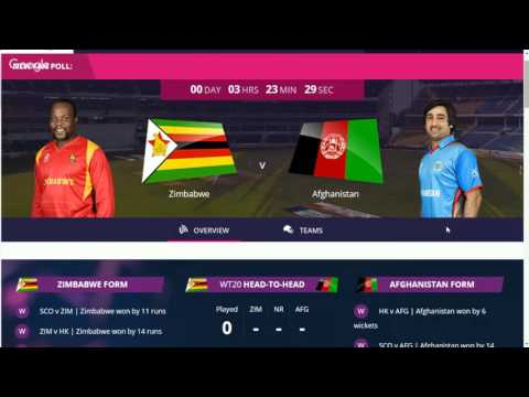 Afghanistan vs Zimbabwe, 9th Match, Group B - Live Cricket Score