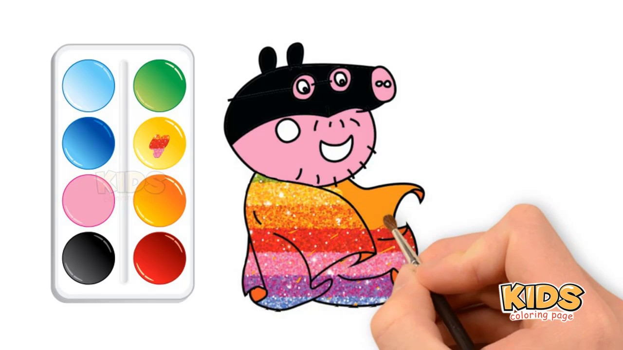 How To Draw A Superman Peppa Pig For Kids Doraemon Super Coloring Pages For Kids Youtube