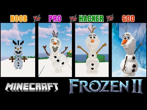 Minecraft Battle: NOOB Vs PRO Vs HACKER Vs GOD: OLAF From FROZEN 2 BUILD CHALLENGE In Minecraft.