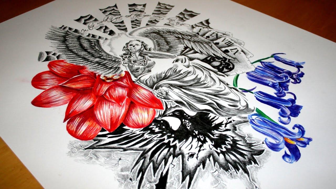 skeleton angel half sleeve tattoo design speed drawing youtube. Black Bedroom Furniture Sets. Home Design Ideas