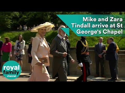 Mike and Zara Tindall arrive at Royal Wedding 2018 of Prince Harry and Meghan Markle
