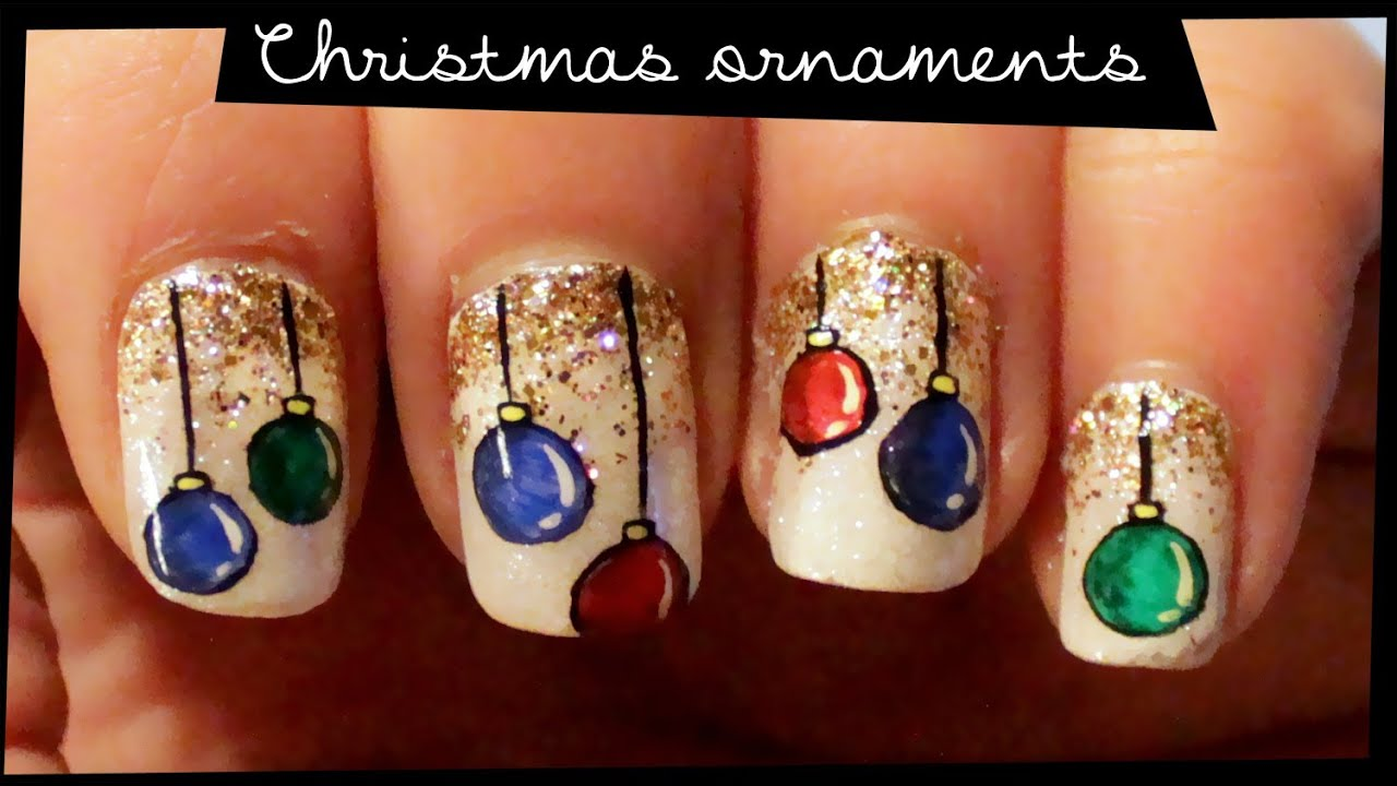 Christmas Ornaments nail art - YouTube