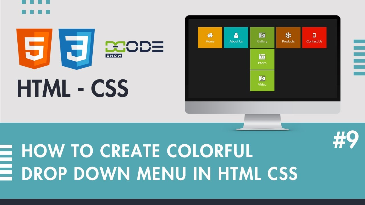 Colorful Drop-Down Menu in HTML CSS | Drop-Down Menu in HTML CSS