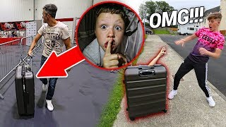 My Little Brother Spent the Day in a Suitcase and it was HILARIOUS... (24 Hour Challenge)