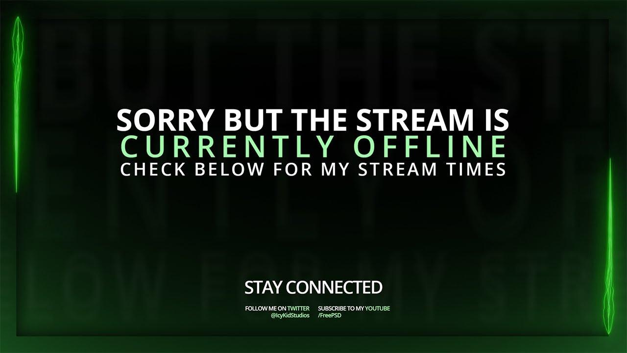 Free Twitch Banner Template Offline Stream Green Laser Beam Psd