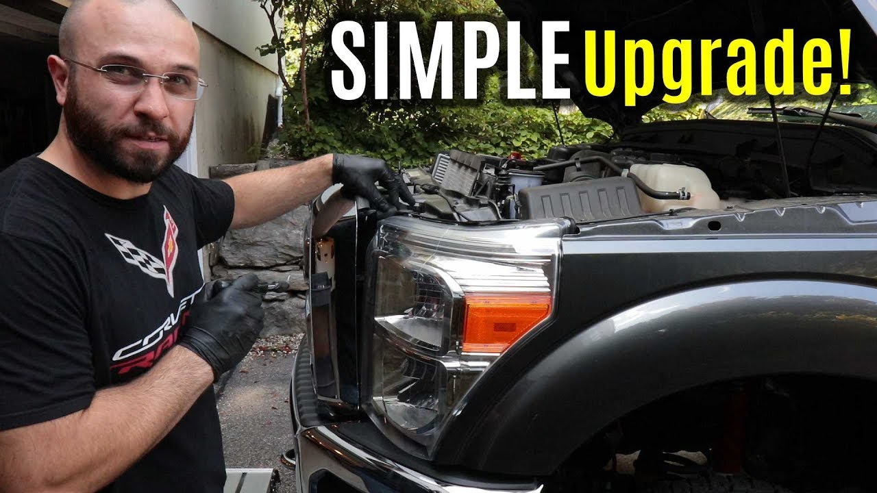 Ford F 250 Superduty Headlight Bulb Replacement Upgrade Sylvania Silverstar Ultra Youtube